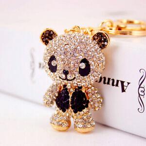 Fashion Women Panda Shaped Keychain Crystal Keyring Handbag Charm
