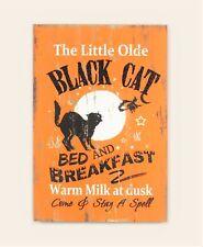 Youngs Halloween Decor - Black Cat Bed & Breakfast Orange Wood Sign #86030
