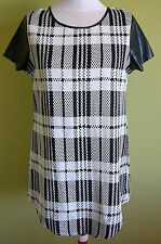 Ladies Womens Black and White Shift Tunic Mini Dress Short Sleeve Temt Size 14