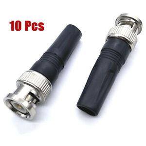 10Pcs Bnc Male Connector For Twist-On Coaxial Rg59 Cable CCTV Solderless plug s/