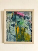 "Original Abstract Acrylic Painting Contemporary 7 x 8"" Framed Fine Art Signed"