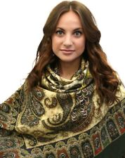 1344-10 Favorite Woolen Merino Shawl, w/Silk fringe Natural Pavlovo Posad Ladies