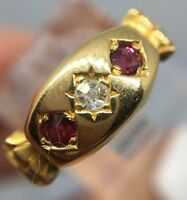 Antique Victorian Stunning Ruby And Diamond Ornate 3 Stone Ring 18ct Yellow Gold