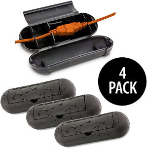 KOVOT Extension Cord Safety Cover Protectors 4 Pack   Black   Protects Plugs & &