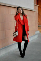 ZARA WOMAN RED MASCULINE DOUBLE BREASTED COAT JACKET WOOL BLAZER SIZE SMALL NEW