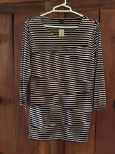 NWT Ann Taylor 2/3 sleeve Layered  striped top M