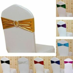Spandex Stretch Shiny Foil Chair Sash Wedding Party Decor Cover Band Buckle Bow