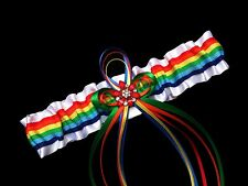 PLUS SIZE RAINBOW Stripes PRIDE SATIN GARTER Wedding PROM Bridal Gay Lesbian Bi