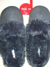 STYLE & CO. WOMENS SLIPPERS BLACK SPARKLE SCUFFS SLIDES SIZE MEDIUM 7 7.5