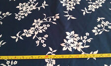 WHITE ON NAVY FLORAL 100% POLY LAMOUR SATIN FABRIC BY THE YARD