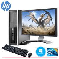 "HP Desktop Computer PC Core 2 Duo 4GB 160GB HD Windows 10 & 19"" LCD Monitor WIFI"