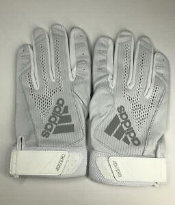 Men's All White Adizero 4.0 Adidas Batting Gloves Size 2XL New