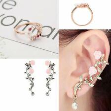 Charm Gold Crystal Rinestone Flower Ring Rose Ear Clip Stud Earring Jewllery Set