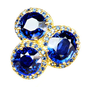 Sapphire Kashmir Blue 3 Stone 20.10Ct. 925 Sterling Silver Gold Ring Size 6 Gift