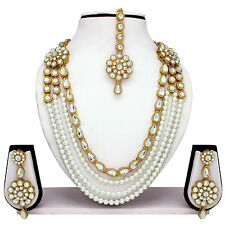 Traditional Indian Bridal Ethnic Gold Plated Necklace Earrings Party Jewelry Set