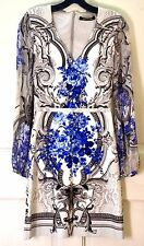 New $1570 Roberto Cavalli Sheer Sleeve Tapestry Blue Floral Dress US 2 4 /IT 40
