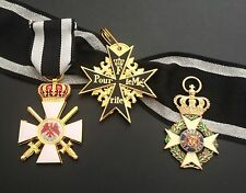 REPRO MILITARY ORDER OF KARL-FRIEDRICH, BLACK POUR LE MERITE AND RED EAGLE MEDAL