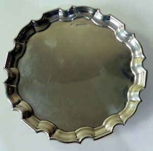 Solid sterling silver small salver / waiter 168.6g 16cm wide Hallmks London 1897