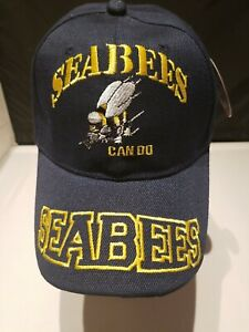 Seabees Can Do Hat Cap Adjustable  Blue Naval Construction Navy