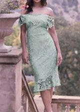 Bnwt🌹Lipsy VIP🌹Size 10 Mint Green Lace Applique Flip Hem Bardot Dress New