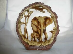 WOOD EFFECT ELEPHANT and CALF Collectible Resin Ornament Figurine Statue