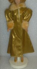 Faux Gold Leather Fur Trimmed Maxi Length Barbie Coat Or SSF & Matching Shoes