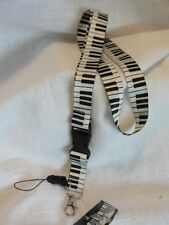PIANO KEYBOARD LANYARD- KEYCHAIN -ID BADGE HOLDER-MUSIC