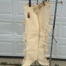 Adult L Sand synthetic suede Western show /equitation chaps w/elastic Tough 1