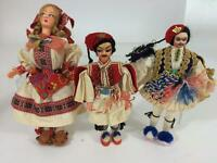 Greek Vintage Lot 3 Doll Souvenir International Costume Handmade Greece Exc
