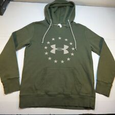 UNDER ARMOUR FREEDOM PULLOVER HOODIE HOODED SWEATSHIRT Womens M Army Green