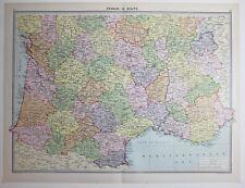 1920 LARGE MAP FRANCE SOUTH MONTPELLIER BORDEAUX GIRONDE VIENNE HAUTE LOIRE