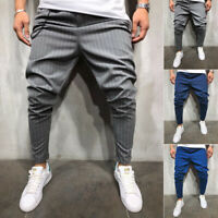 Men's Slim Fit Urban Straight Leg Trousers Casual Formal Pencil Jogger Pants