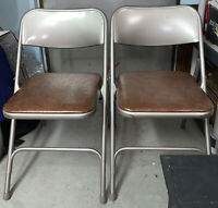 Vintage SAMSONITE MONARCH FOLDING METAL CHAIR (2) With FAUX LEATHER SEATS