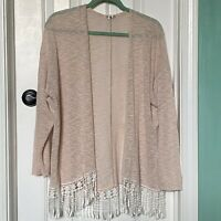 Knit Long-Sleeve Pale Pink Sweater With Fringe Womens Size M