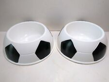 Lot of 2 White & Black Plastic Stackable Dog Cat Pet Soccerball Bowl Size Medium