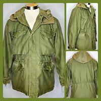 Vtg US Army M-1950 Field Jacket & M-1943 Hood Regular Small OD Green Korean War