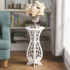 Indoor Plant Flower Pot Stand Display Wooden Rack Holder Table Decor Round White