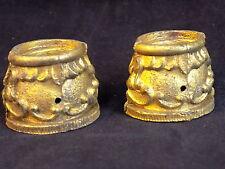 VINTAGE Solid BRASS Decorative ornate clock leg cuffs 1 inch tall set of 2 cuffs