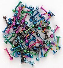 Lot25pcs Titanium Anodized 16g~1.2mm Labret Lip Chin Ring Monroe Bar Tragus NEW