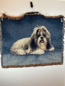 Linda Pickens Pedigrees Collection Shih Tzu Afghan Woven Tapestry Throw Blanket