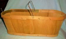 "Split Wood Basket w/ Metal Handle, 14"" x 7"" x 5"", FREE Shipping!"