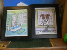 Pair Of Jack Russel Terrier Black Wood Framed 14X17 Prints- By Schmetz-Used