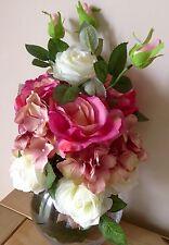Artificial Silk Flower Arrangement Beautiful Luxury Pink And Cream Roses In Vase