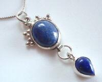 Tribal Lapis Lazuli Double Gem 925 Sterling Silver Necklace Corona Sun h104