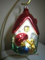 Vintage Blown Mercury Glass Christmas Ornament Cottage w/ Turkey in front