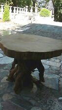 "1920c FREE FORM 5""LIVE EDGE OAK SLAB TOP W/MADRONE ROOT BASE CENTER TABLE"