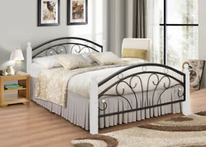 Metal Bed Frame Single Double King Sturdy Frame with Wooden Pole White & Oak