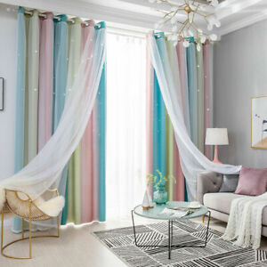 2X Star Curtains Stars Blackout Curtains for Kids Girls Bedroom Living Room