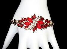 Red Rhinestone Crystal Goldtone Chain Fashion Bangle Bracelet Hat Society Ladies
