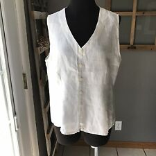 FLAX Women's White 100% Linen Sleeveless Vest Button Blouse Top Small Euc